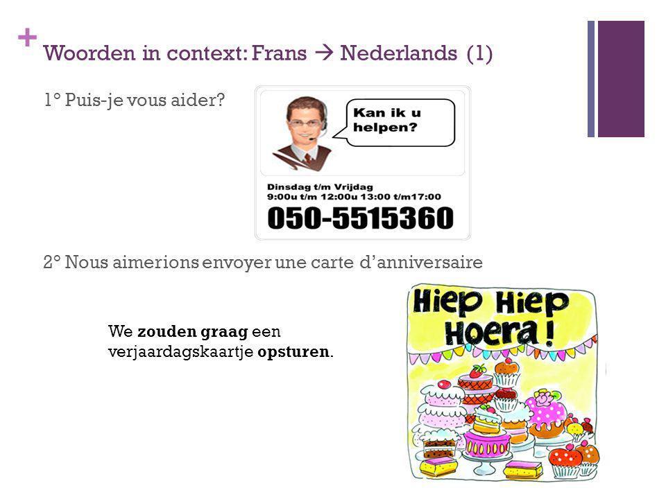 + Woorden in context: Frans Nederlands (1) 1° Puis-je vous aider? 2° Nous aimerions envoyer une carte danniversaire We zouden graag een verjaardagskaa
