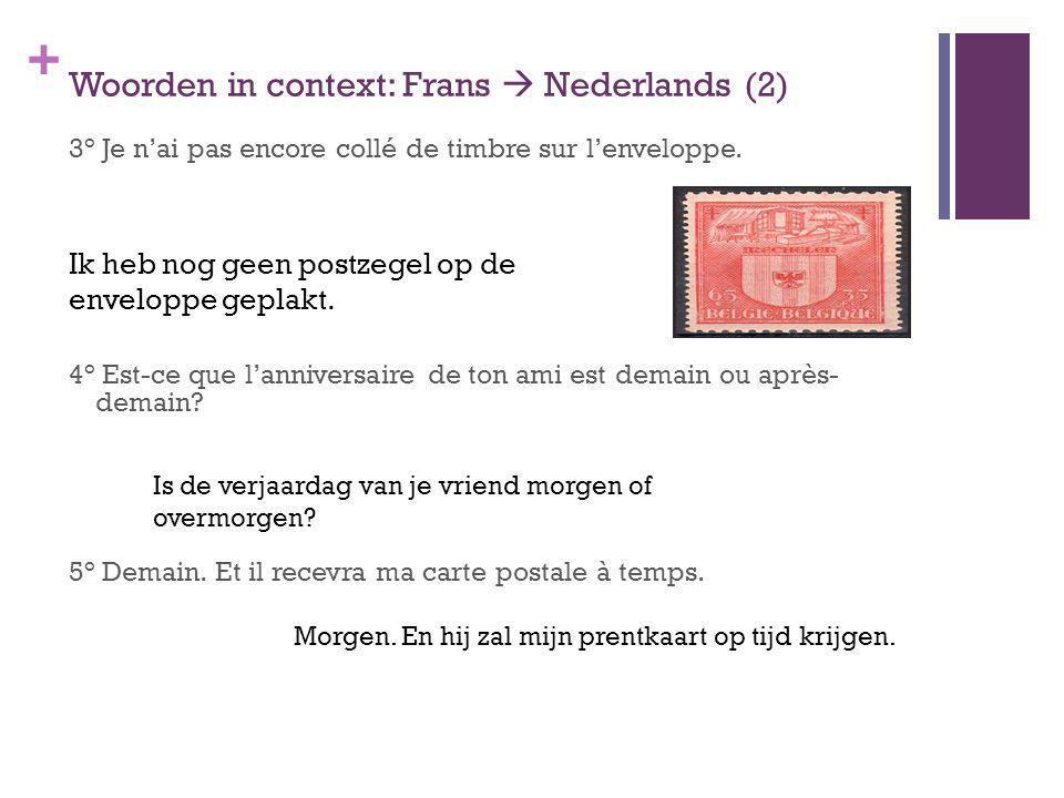 + Woorden in context: Frans Nederlands (2) 3° Je nai pas encore collé de timbre sur lenveloppe. 4° Est-ce que lanniversaire de ton ami est demain ou a
