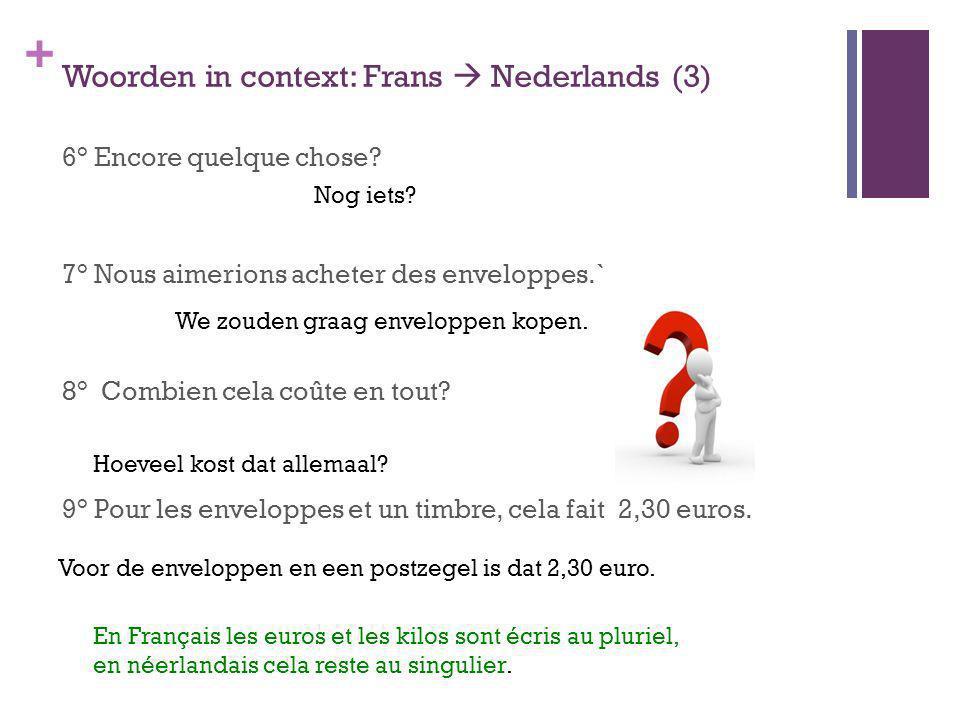 + Woorden in context: Frans Nederlands (3) 6° Encore quelque chose? 7° Nous aimerions acheter des enveloppes.` 8° Combien cela coûte en tout? 9° Pour