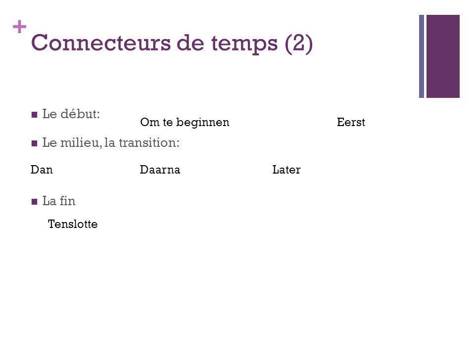 + Connecteurs de temps (2) Le début: Le milieu, la transition: La fin Om te beginnenEerst DanDaarnaLater Tenslotte