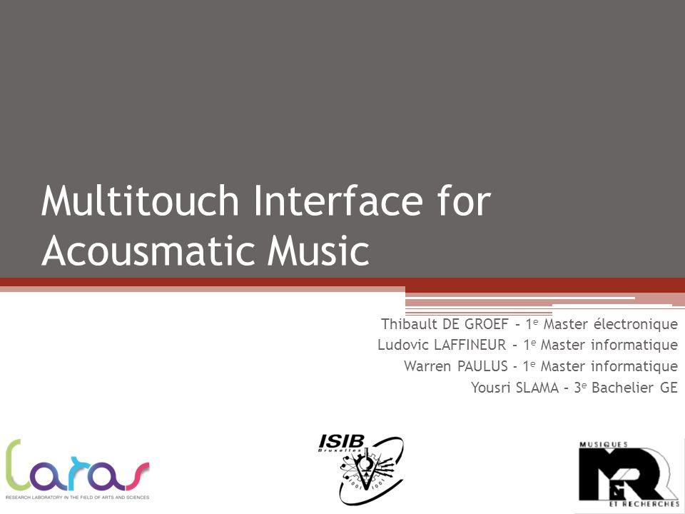 Multitouch Interface for Acousmatic Music Thibault DE GROEF – 1 e Master électronique Ludovic LAFFINEUR – 1 e Master informatique Warren PAULUS - 1 e Master informatique Yousri SLAMA – 3 e Bachelier GE
