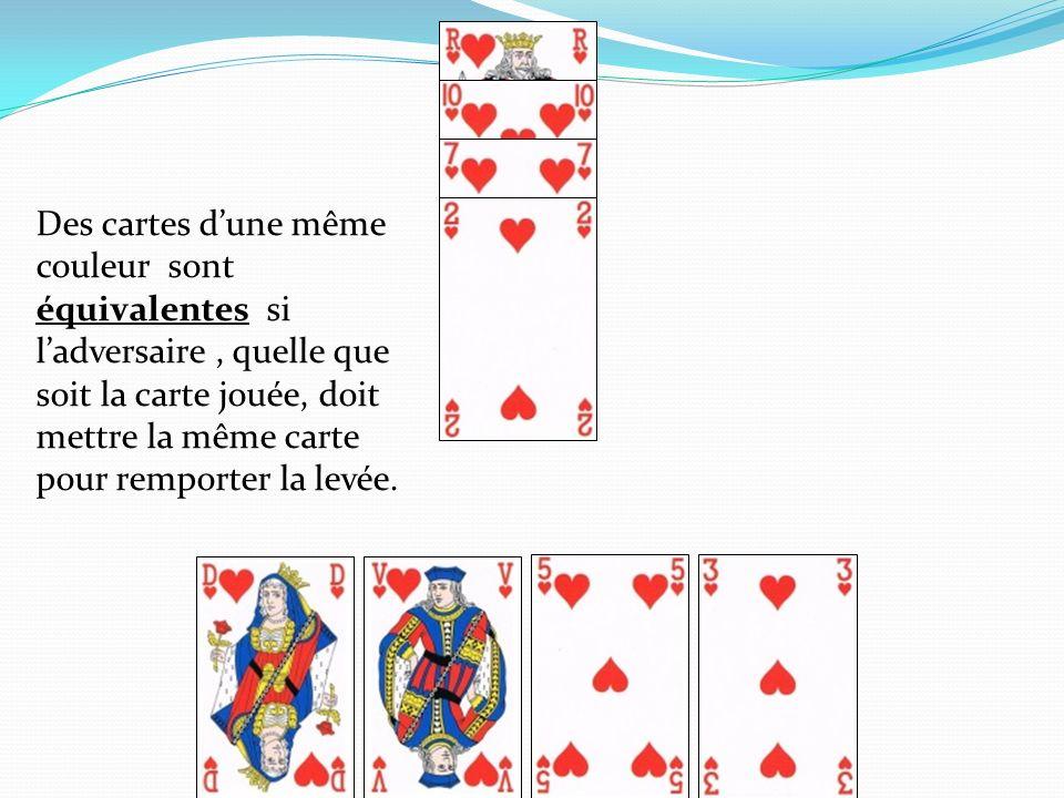 Des cartes dune même couleur sont équivalentes si ladversaire, quelle que soit la carte jouée, doit mettre la même carte pour remporter la levée.