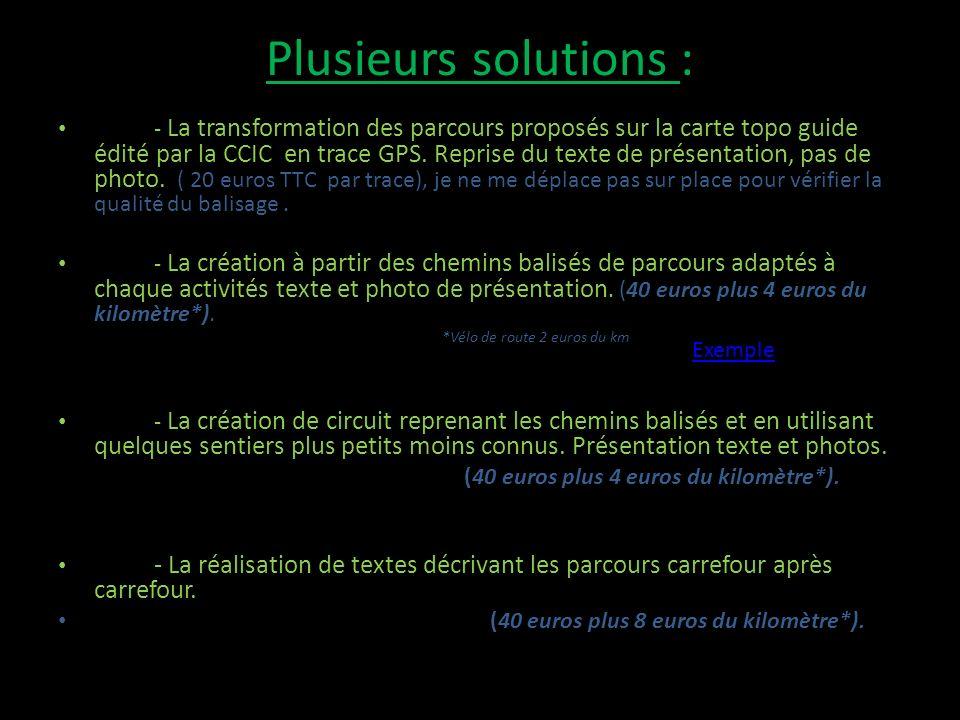 Plusieurs solutions : - La transformation des parcours proposés sur la carte topo guide édité par la CCIC en trace GPS.