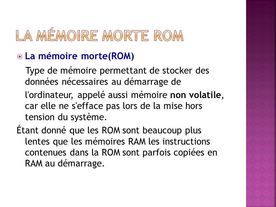 La mémoire morte(ROM) Type de mémoire permettant de stocker des données nécessaires au démarrage de l ordinateur, appelé aussi mémoire non volatile, car elle ne s efface pas lors de la mise hors tension du système.