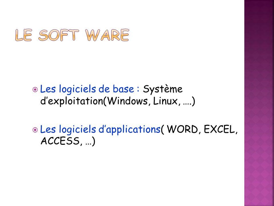 Les logiciels de base : Système dexploitation(Windows, Linux, ….) Les logiciels dapplications( WORD, EXCEL, ACCESS, …)