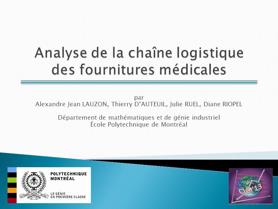 Fournitures : Afin de simplifier et de réduire les coûts de la gestion logistique, il est nécessaire deffectuer une standardisation des fournitures médicales.