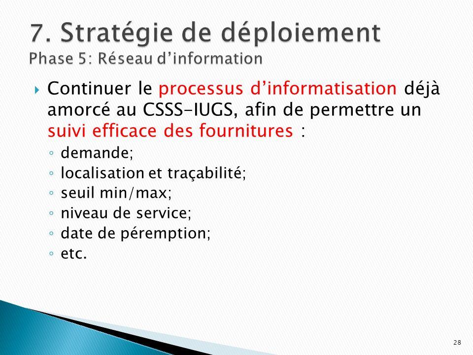 Continuer le processus dinformatisation déjà amorcé au CSSS-IUGS, afin de permettre un suivi efficace des fournitures : demande; localisation et traça