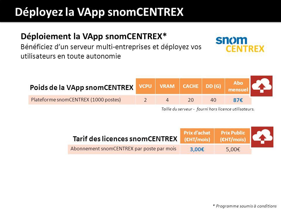 VCPUVRAMCACHEDD (G) Abo mensuel Plateforme snomCENTREX (1000 postes) 242040 87 Poids de la VApp snomCENTREX Taille du serveur - fourni hors licence utilisateurs.