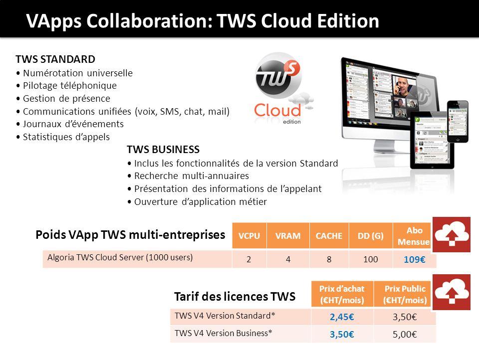 VApps Collaboration: TWS Cloud Edition TWS STANDARD Numérotation universelle Pilotage téléphonique Gestion de présence Communications unifiées (voix, SMS, chat, mail) Journaux dévénements Statistiques dappels TWS BUSINESS Inclus les fonctionnalités de la version Standard Recherche multi-annuaires Présentation des informations de lappelant Ouverture dapplication métier VCPUVRAMCACHEDD (G) Abo Mensuel Algoria TWS Cloud Server (1000 users) 248100 109 Poids VApp TWS multi-entreprises Prix dachat (HT/mois) Prix Public (HT/mois) TWS V4 Version Standard* 2,453,50 TWS V4 Version Business* 3,505,00 Tarif des licences TWS
