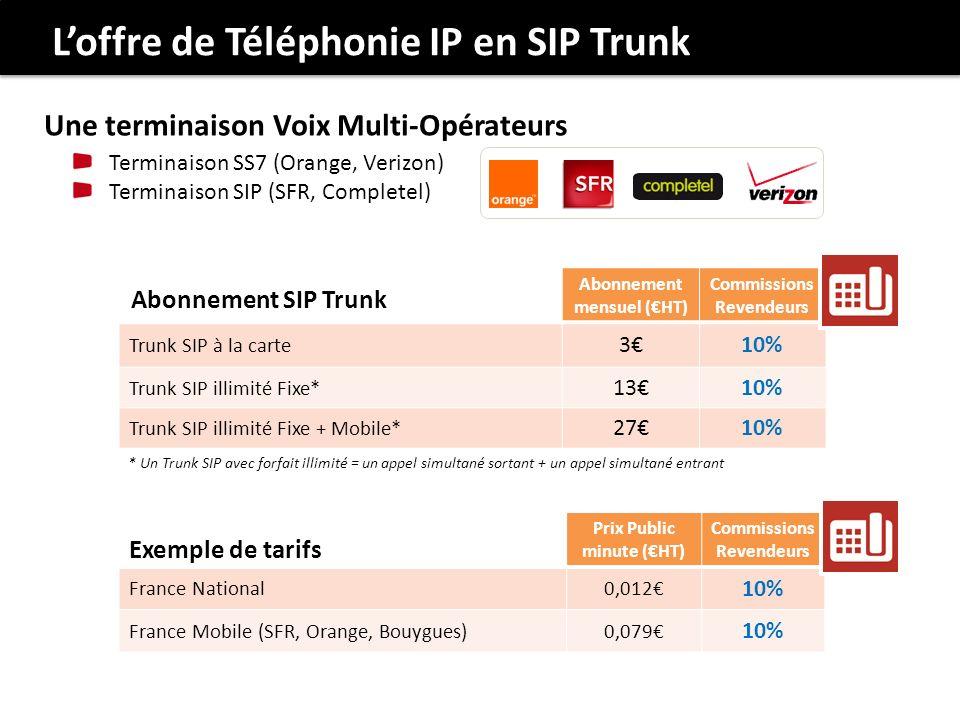 Loffre de Téléphonie IP en SIP Trunk Abonnement mensuel (HT) Commissions Revendeurs Trunk SIP à la carte 310% Trunk SIP illimité Fixe* 1310% Trunk SIP