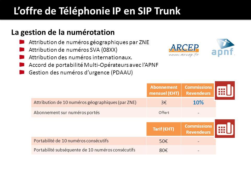 Abonnement mensuel (HT) Commissions Revendeurs Attribution de 10 numéros géographiques (par ZNE) 3 10% Abonnement sur numéros portés Offert - Tarif (H