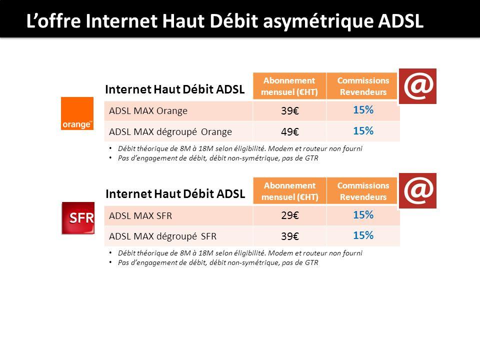 Loffre Internet Haut Débit asymétrique ADSL Abonnement mensuel (HT) Commissions Revendeurs ADSL MAX Orange 39 15% ADSL MAX dégroupé Orange 49 15% Internet Haut Débit ADSL Débit théorique de 8M à 18M selon éligibilité.