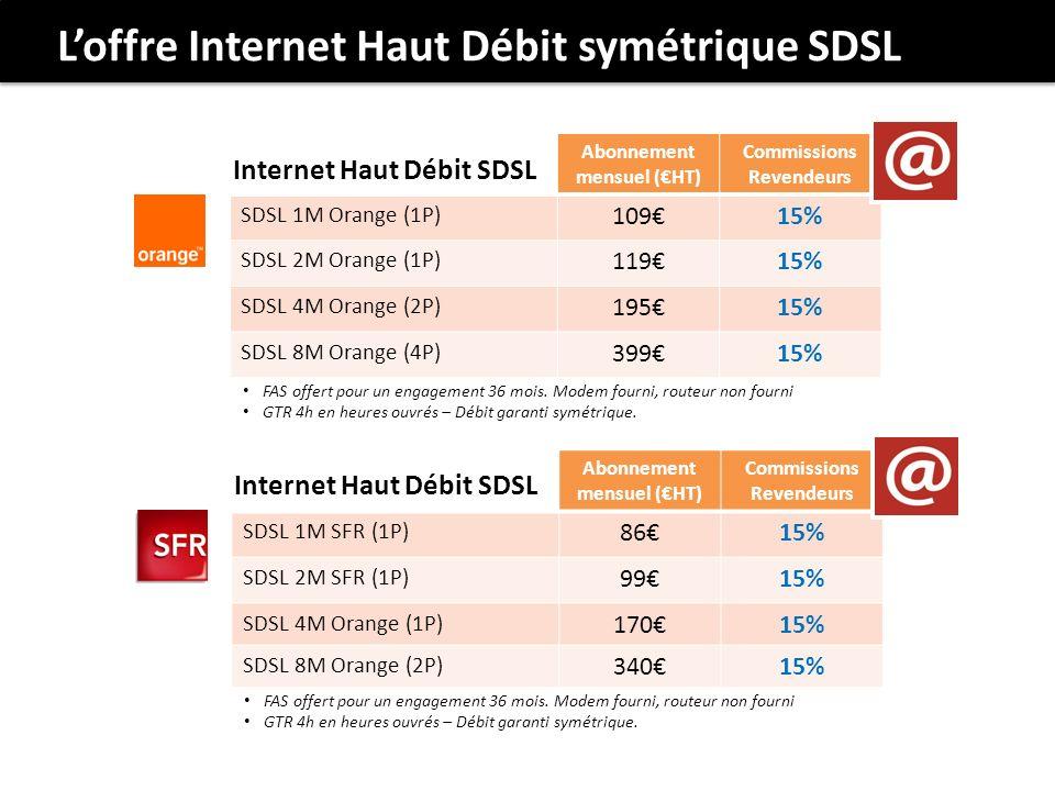 Abonnement mensuel (HT) Commissions Revendeurs SDSL 1M SFR (1P) 8615% SDSL 2M SFR (1P) 9915% SDSL 4M Orange (1P) 17015% SDSL 8M Orange (2P) 34015% Internet Haut Débit SDSL FAS offert pour un engagement 36 mois.
