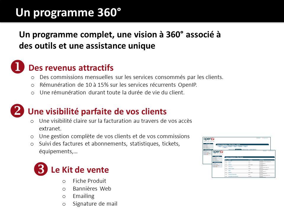 Un programme complet, une vision à 360° associé à des outils et une assistance unique Des revenus attractifs o Des commissions mensuelles sur les services consommés par les clients.