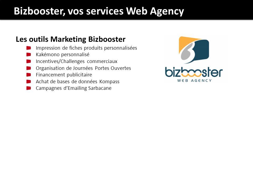 Bizbooster, vos services Web Agency Les outils Marketing Bizbooster Impression de fiches produits personnalisées Kakémono personnalisé Incentives/Chal