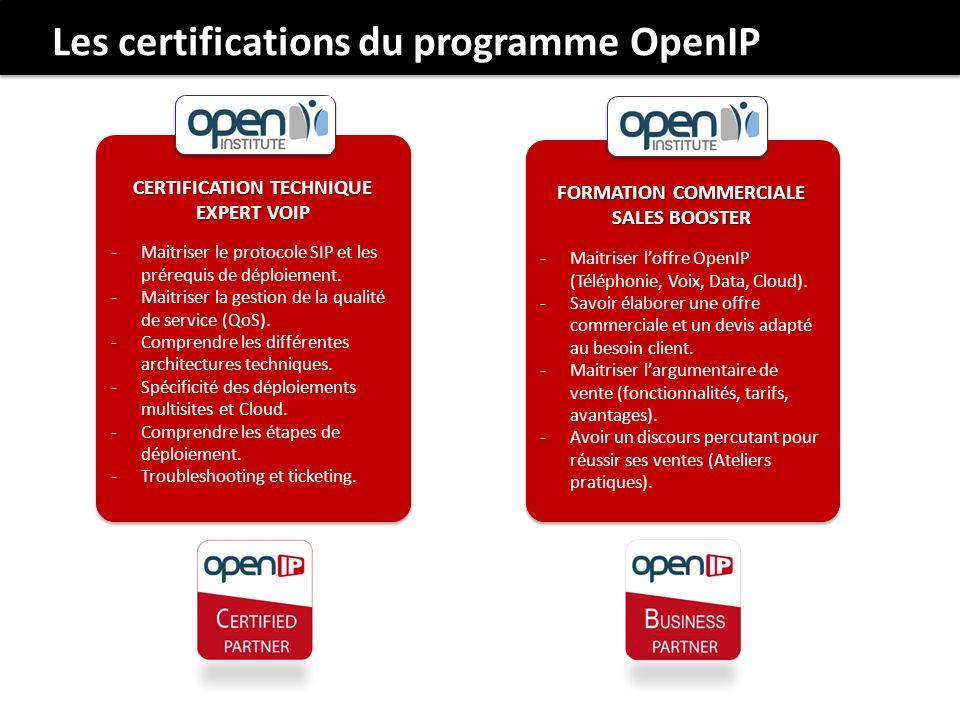 Les certifications du programme OpenIP CERTIFICATION TECHNIQUE EXPERT VOIP -Maitriser le protocole SIP et les prérequis de déploiement. -Maitriser la