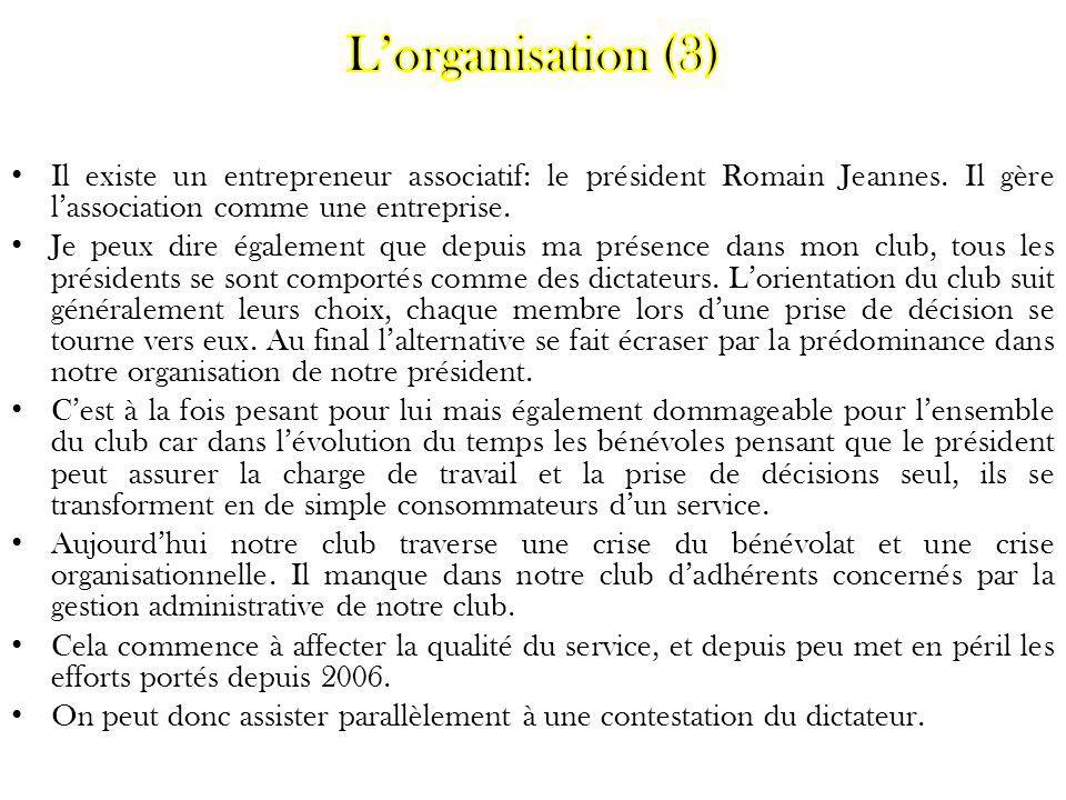 Il existe un entrepreneur associatif: le président Romain Jeannes. Il gère lassociation comme une entreprise. Je peux dire également que depuis ma pré