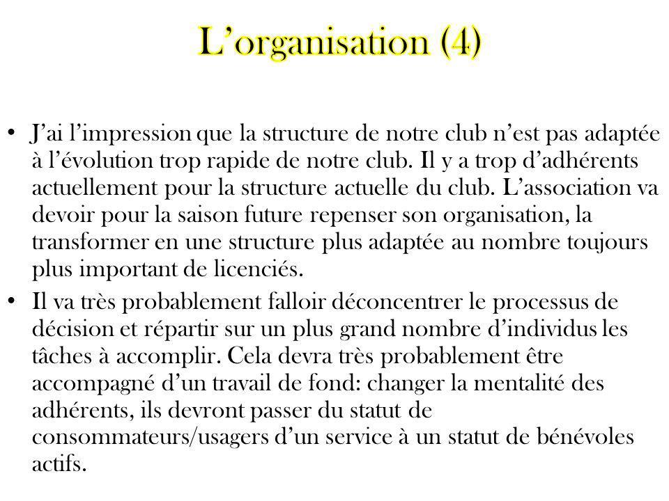 Jai limpression que la structure de notre club nest pas adaptée à lévolution trop rapide de notre club. Il y a trop dadhérents actuellement pour la st