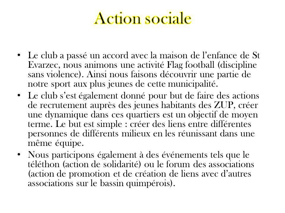 Le club a passé un accord avec la maison de lenfance de St Evarzec, nous animons une activité Flag football (discipline sans violence). Ainsi nous fai