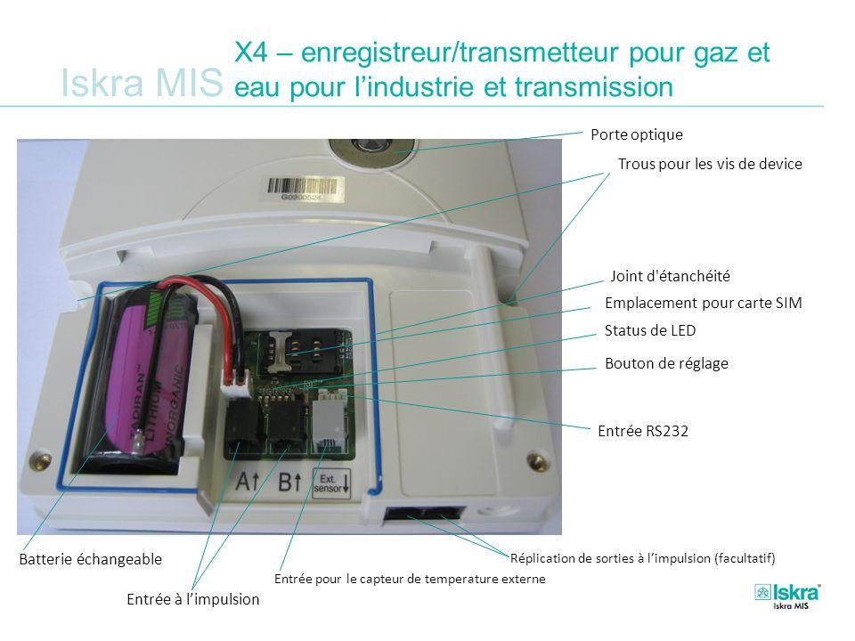 Iskra MIS X4 – enregistreur/transmetteur pour gaz et eau pour lindustrie et transmission Impulse inputs Batterie échangeable Bouton de réglage Entrée