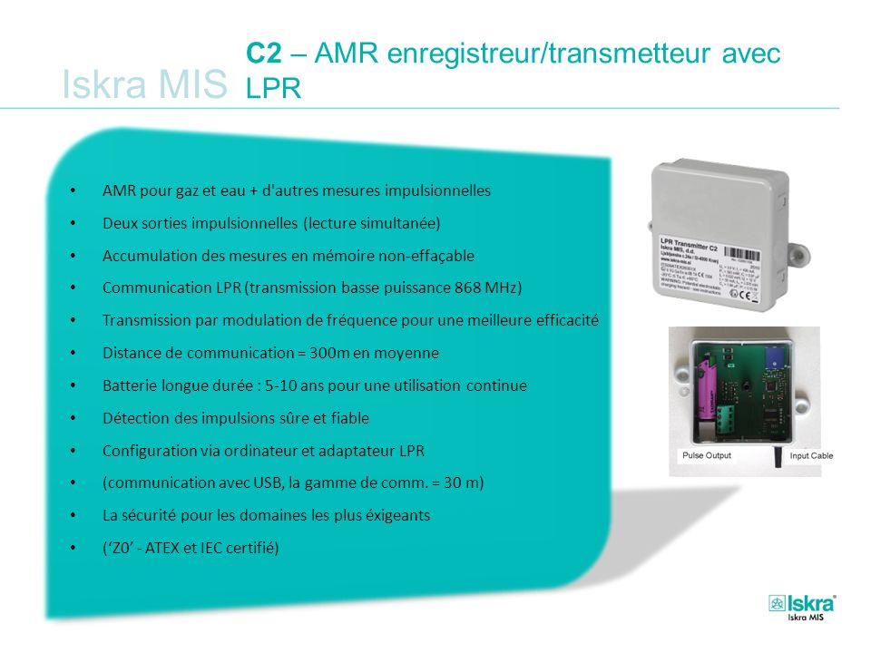 Iskra MIS C2 – AMR enregistreur/transmetteur avec LPR AMR pour gaz et eau + d'autres mesures impulsionnelles Deux sorties impulsionnelles (lecture sim