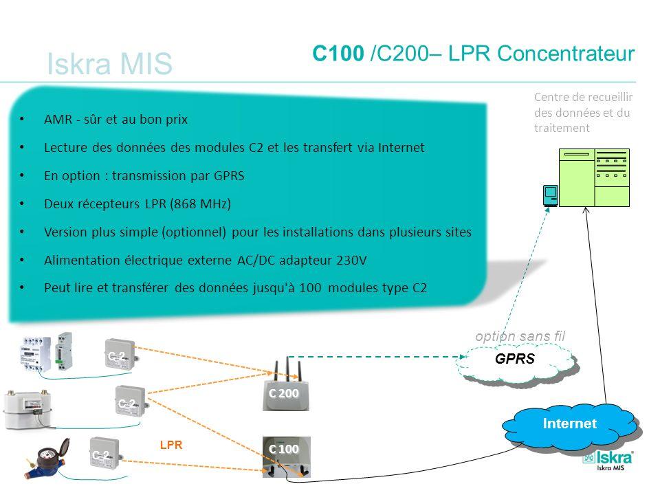Iskra MIS C100 /C200– LPR Concentrateur Internet C 100 GPRS option sans fil LPR C 200 C 2 Centre de recueillir des données et du traitement AMR - sûr