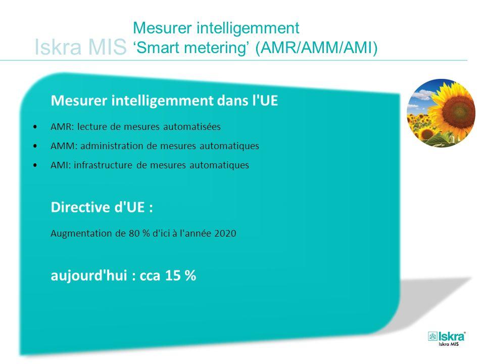 Iskra MIS Mesurer intelligemment Smart metering (AMR/AMM/AMI) Mesurer intelligemment dans l'UE AMR: lecture de mesures automatisées AMM: administratio