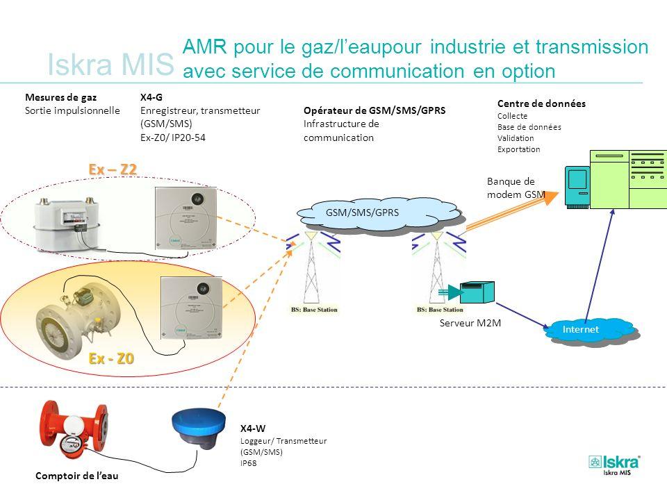 Iskra MIS AMR pour le gaz/leaupour industrie et transmission avec service de communication en option Serveur M2M GSM/SMS/GPRS Internet Banque de modem