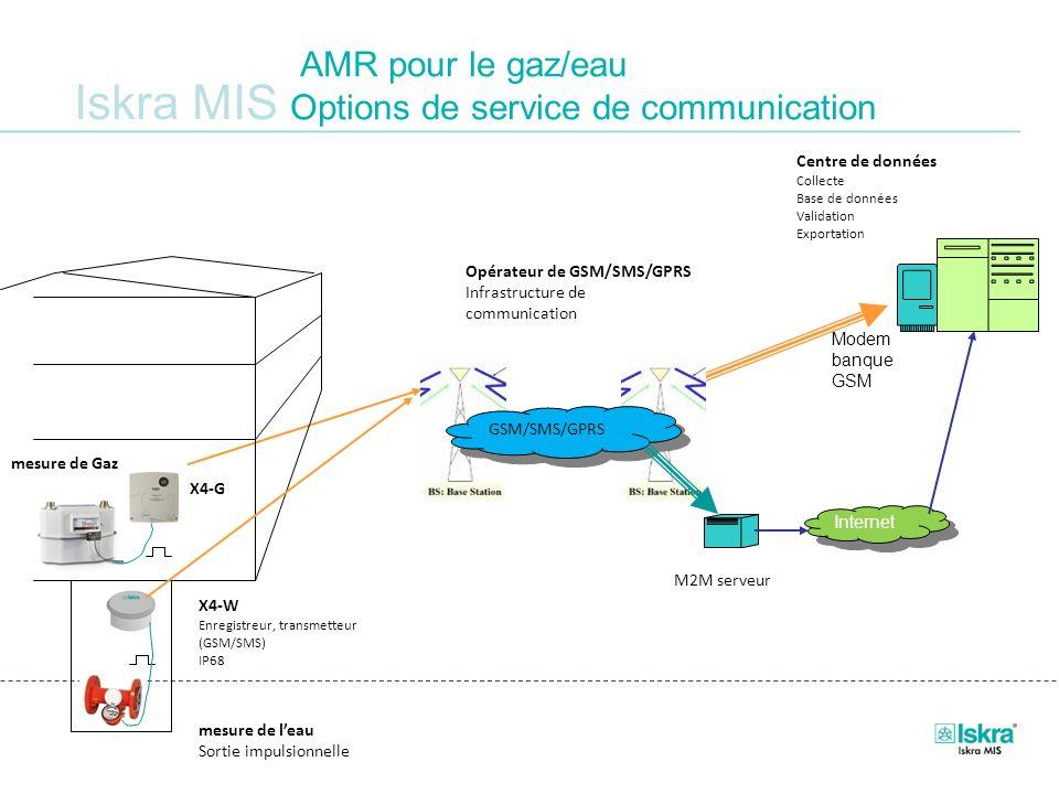Iskra MIS AMR pour le gaz/eau Options de service de communication M2M serveur mesure de leau Sortie impulsionnelle X4-W Enregistreur, transmetteur (GS