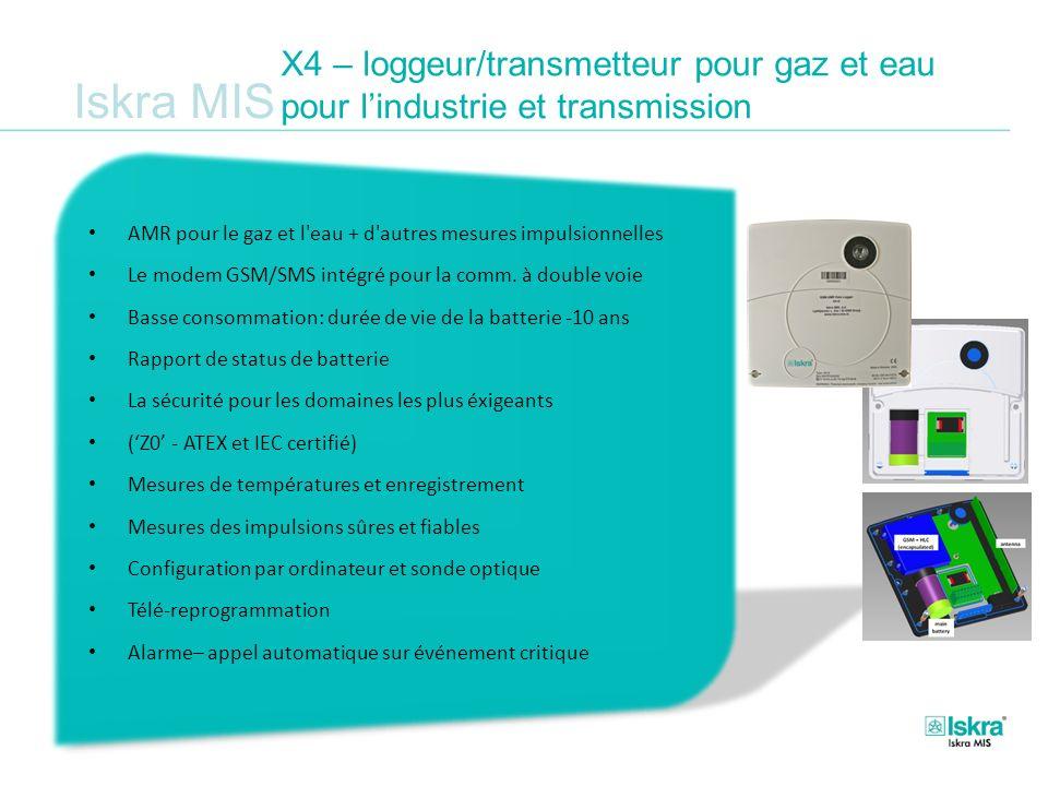 Iskra MIS X4 – loggeur/transmetteur pour gaz et eau pour lindustrie et transmission AMR pour le gaz et l'eau + d'autres mesures impulsionnelles Le mod
