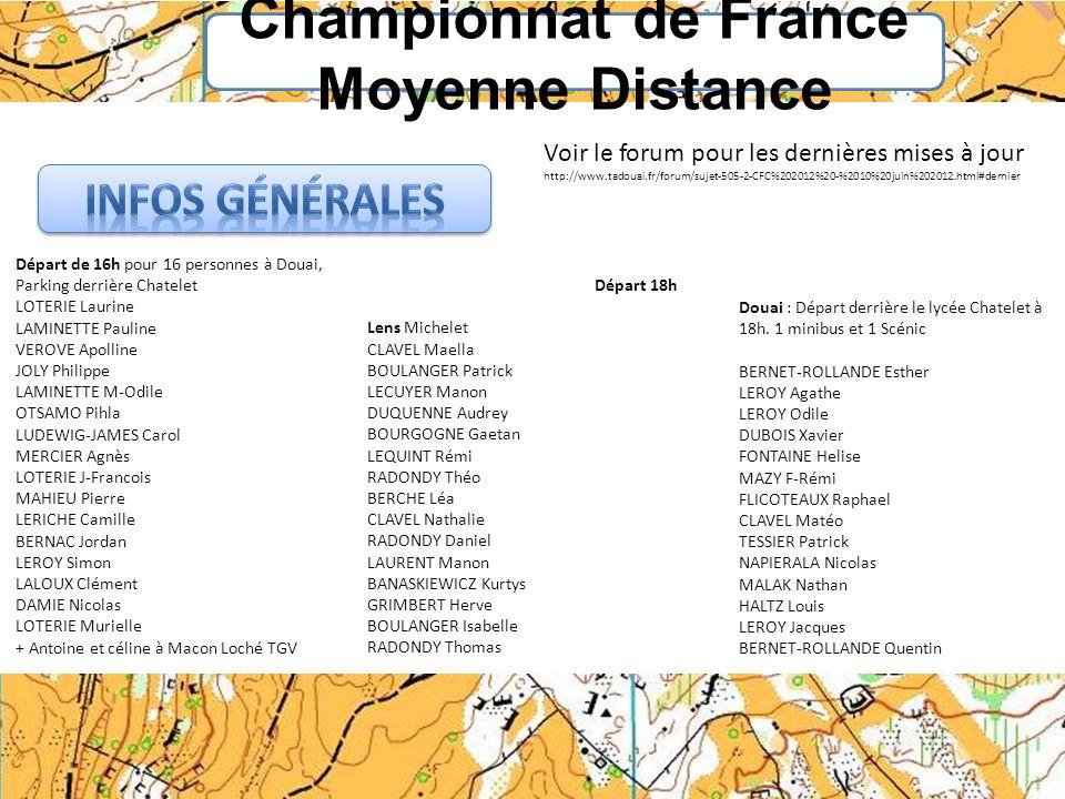 Championnat de France Moyenne Distance Départ de 16h pour 16 personnes à Douai, Parking derrière Chatelet LOTERIE Laurine LAMINETTE Pauline VEROVE Apo