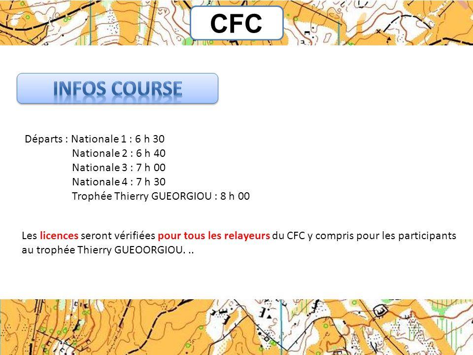 CFC Départs : Nationale 1 : 6 h 30 Nationale 2 : 6 h 40 Nationale 3 : 7 h 00 Nationale 4 : 7 h 30 Trophée Thierry GUEORGIOU : 8 h 00 Les licences sero