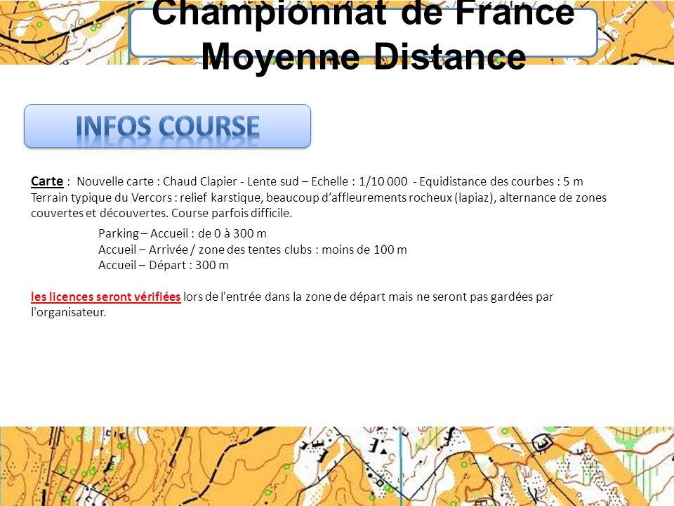 Championnat de France Moyenne Distance Carte : Nouvelle carte : Chaud Clapier - Lente sud – Echelle : 1/10 000 - Equidistance des courbes : 5 m Terrai