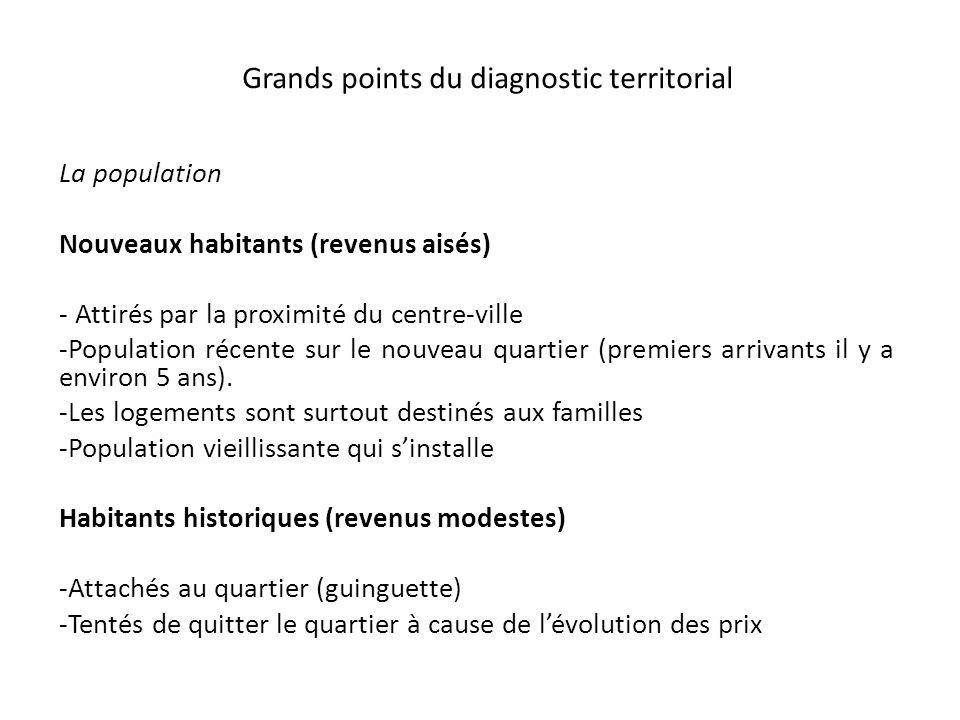 Grands points du diagnostic territorial La population Nouveaux habitants (revenus aisés) - Attirés par la proximité du centre-ville -Population récent