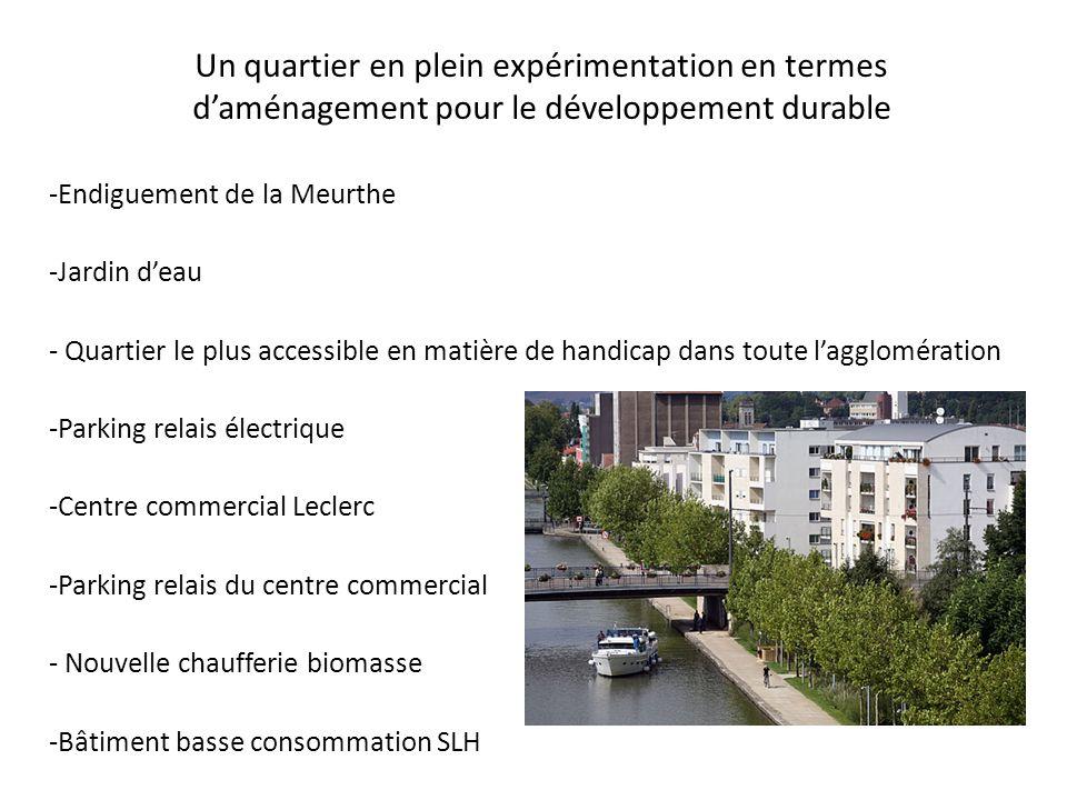 Un quartier en plein expérimentation en termes daménagement pour le développement durable -Endiguement de la Meurthe -Jardin deau - Quartier le plus a