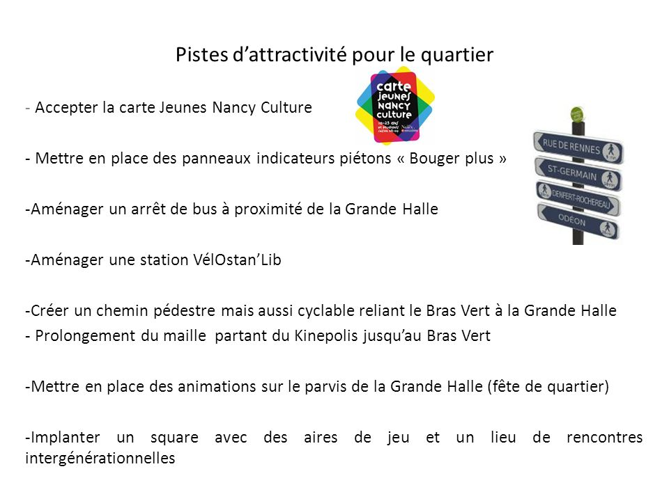 Pistes dattractivité pour le quartier - Accepter la carte Jeunes Nancy Culture - Mettre en place des panneaux indicateurs piétons « Bouger plus » -Amé