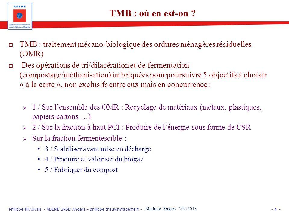 - 1 - Philippe THAUVIN - ADEME SPGD Angers – philippe.thauvin@ademe.fr – PARIS EquipHôtel 12/11/12 « Gros Producteurs » : trier les biodéchets TMB : t