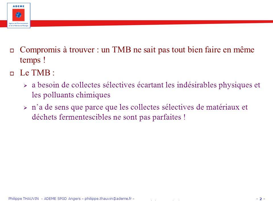 - 2 - Philippe THAUVIN - ADEME SPGD Angers – philippe.thauvin@ademe.fr – PARIS EquipHôtel 12/11/12 « Gros Producteurs » : trier les biodéchets Comprom