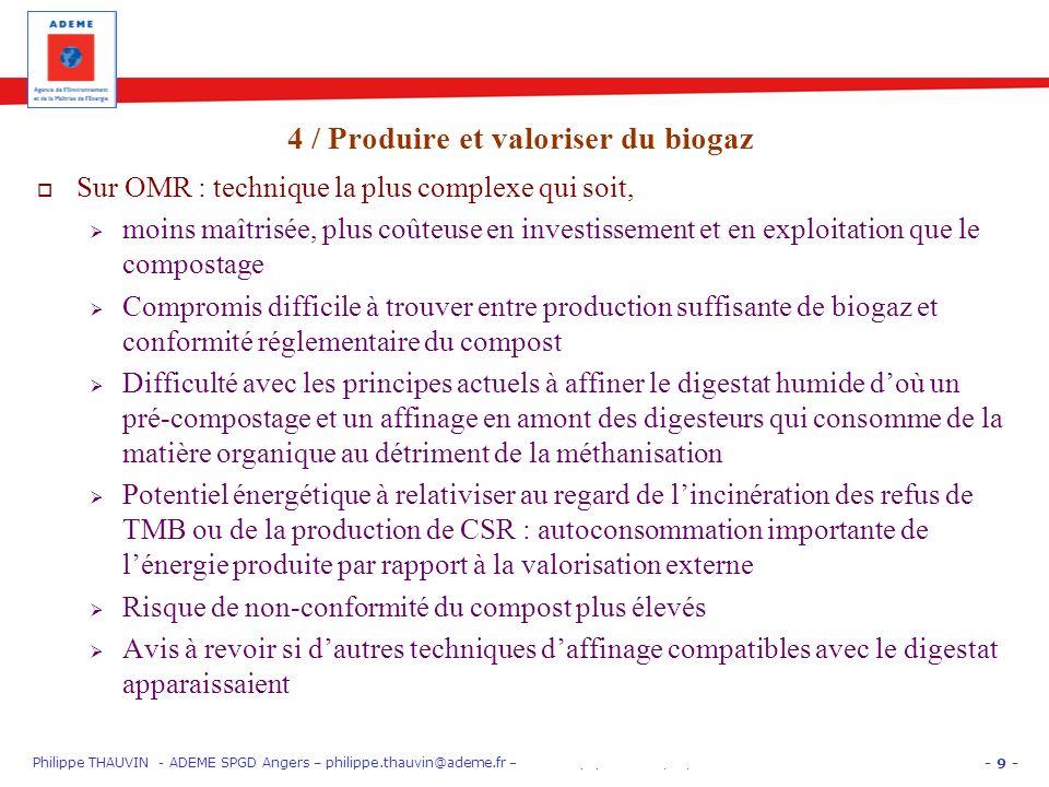 - 9 - Philippe THAUVIN - ADEME SPGD Angers – philippe.thauvin@ademe.fr – PARIS EquipHôtel 12/11/12 « Gros Producteurs » : trier les biodéchets Sur OMR