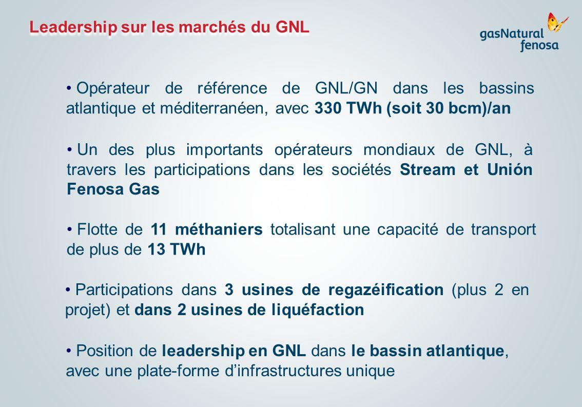 Leadership sur les marchés du GNL Opérateur de référence de GNL/GN dans les bassins atlantique et méditerranéen, avec 330 TWh (soit 30 bcm)/an Un des