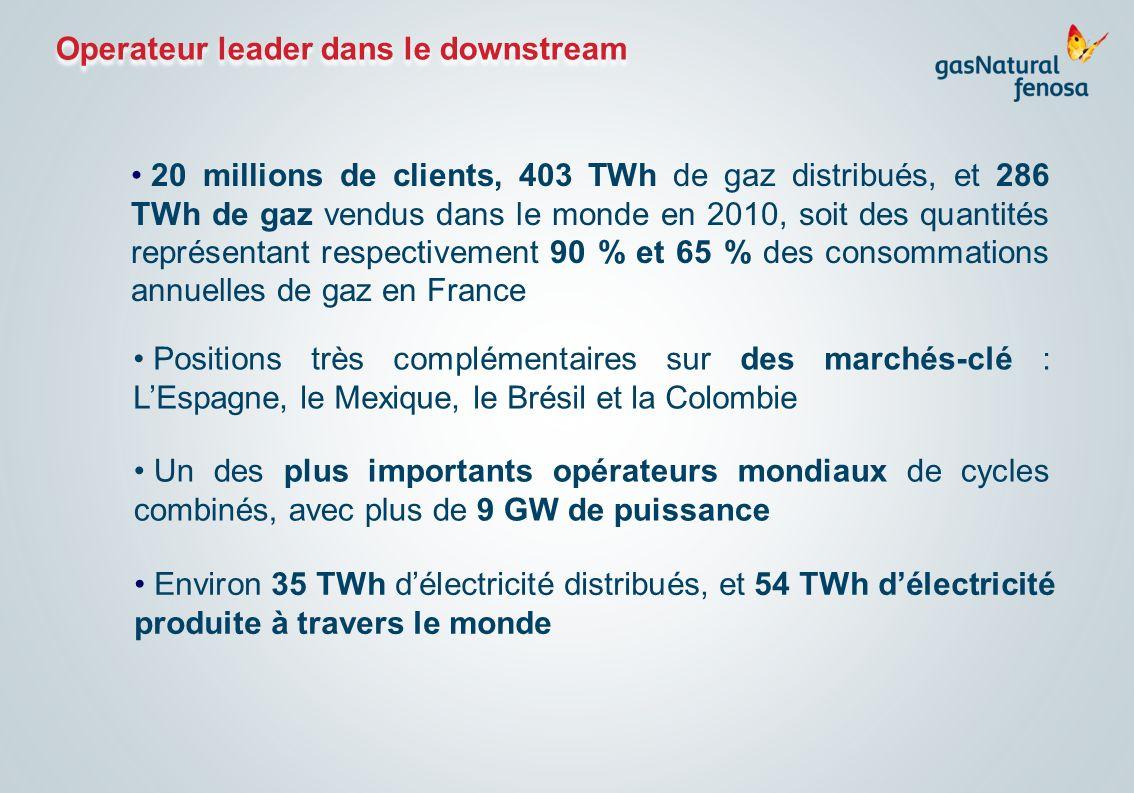 Operateur leader dans le downstream Environ 35 TWh délectricité distribués, et 54 TWh délectricité produite à travers le monde 20 millions de clients,