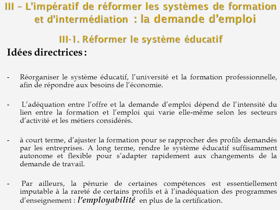 Idées directrices : -Réorganiser le système éducatif, luniversité et la formation professionnelle, afin de répondre aux besoins de léconomie. - Ladéqu
