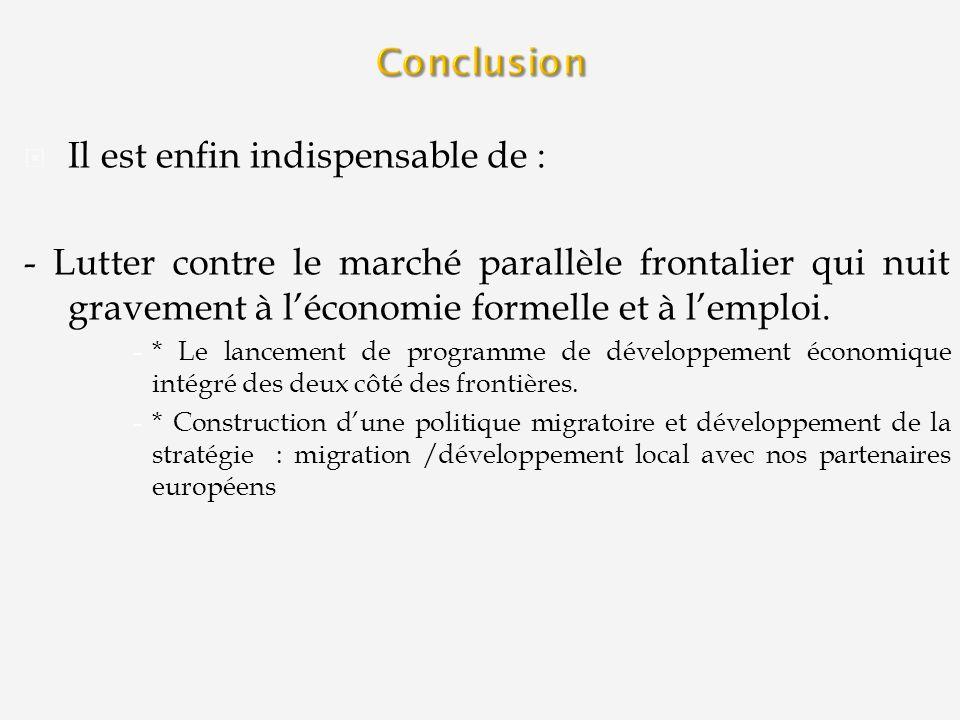Il est enfin indispensable de : - Lutter contre le marché parallèle frontalier qui nuit gravement à léconomie formelle et à lemploi. -* Le lancement d