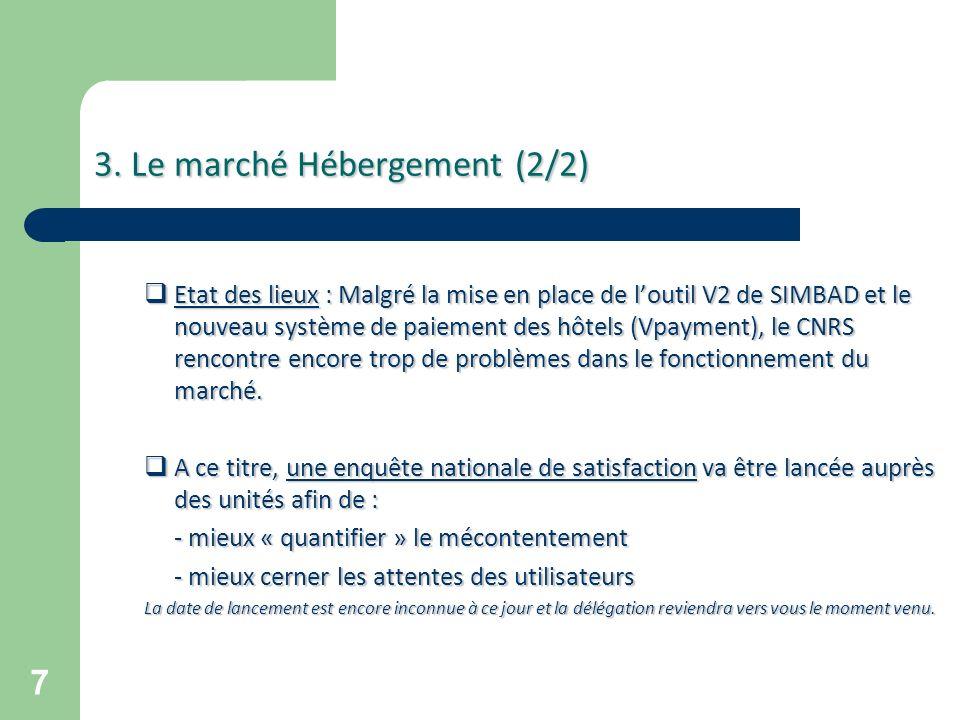 7 3. Le marché Hébergement (2/2) 3. Le marché Hébergement (2/2) Etat des lieux : Malgré la mise en place de loutil V2 de SIMBAD et le nouveau système