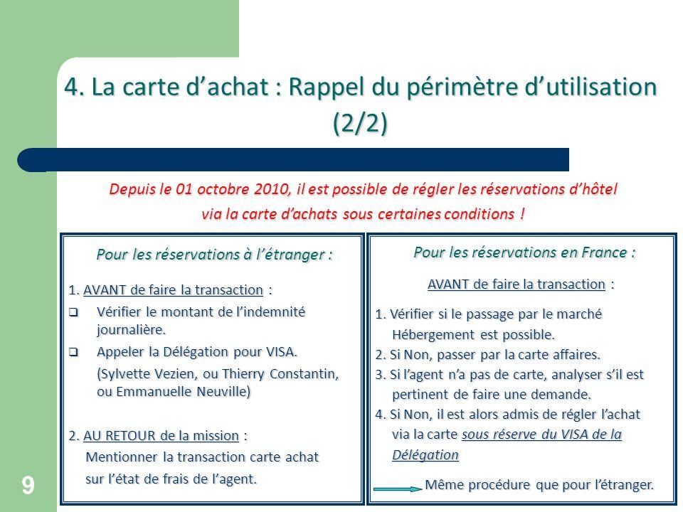 9 4. La carte dachat : Rappel du périmètre dutilisation (2/2) Pour les réservations à létranger : Pour les réservations à létranger : 1. AVANT de fair
