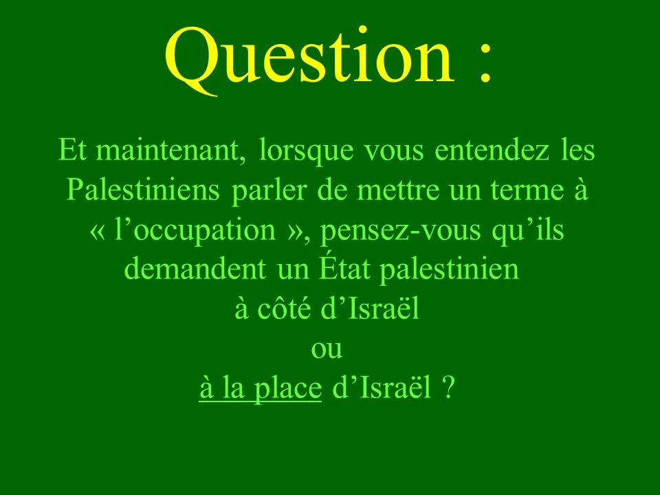 Et maintenant, lorsque vous entendez les Palestiniens parler de mettre un terme à « loccupation », pensez-vous quils demandent un État palestinien à c