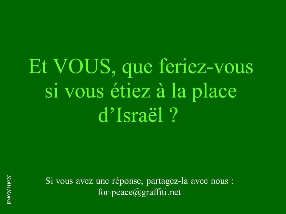 Et VOUS, que feriez-vous si vous étiez à la place dIsraël ? Si vous avez une réponse, partagez-la avec nous : for-peace@graffiti.net Motti Morell