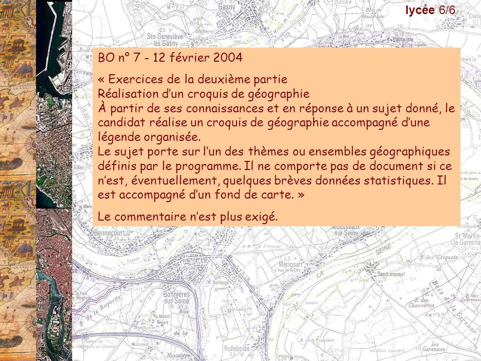 BO n° 7 - 12 février 2004 « Exercices de la deuxième partie Réalisation dun croquis de géographie À partir de ses connaissances et en réponse à un suj