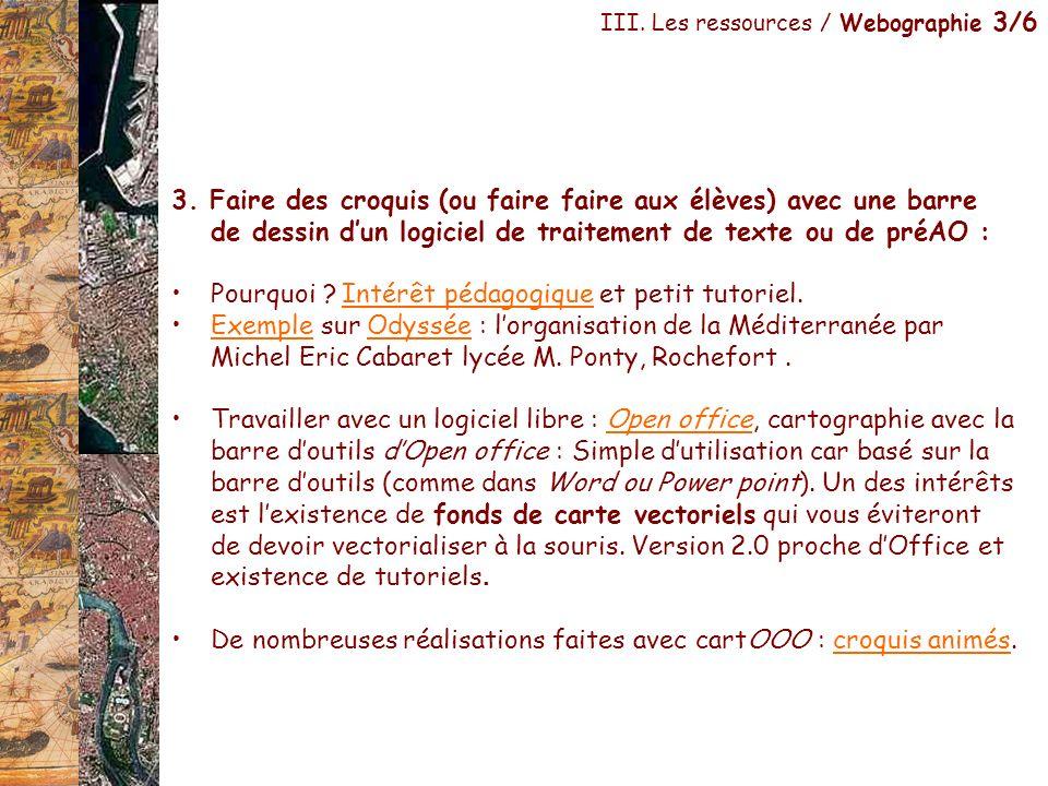 III. Les ressources / Webographie 3/6 3. Faire des croquis (ou faire faire aux élèves) avec une barre de dessin dun logiciel de traitement de texte ou