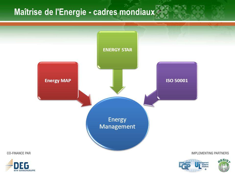 Étapes pour le Management de lEnergie Mesure de votre consommation d énergie et collecte des données 1 1 Trouver des opportunités pour économiser l énergie, et estimer combien d énergie chaque opportunité pourrait sauvegarder Trouver des opportunités pour économiser l énergie, et estimer combien d énergie chaque opportunité pourrait sauvegarder 2 2 Prendre des mesures pour cibler les opportunités d économiser l énergie 3 3 Suivi des progrès en analysant les données mesurées (à quel point ces mesures dénergie ont donné des résultats) 4 4
